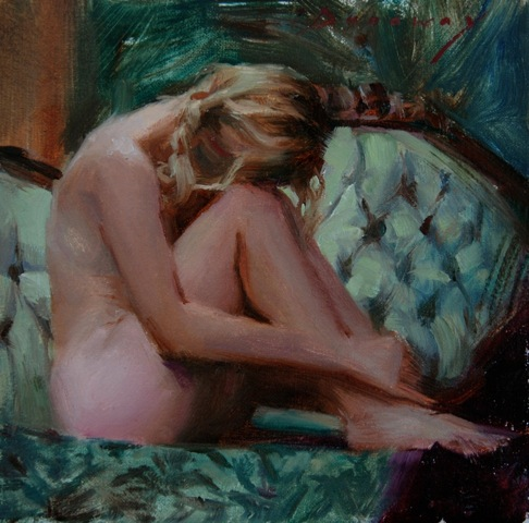 _ Resting _ 6x6_ by Michelle Dunaway oil